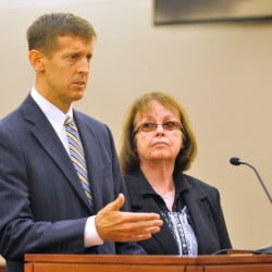 Attorney Walter McKee stands with former Anson Tax Collector Claudia Viles as she pleads not guilty plea in September to 13 counts related to tax fraud. Viles was scheduled to appear in Somerset County Superior Court Wednesday, but it was delayed at the request of the prosecutor.