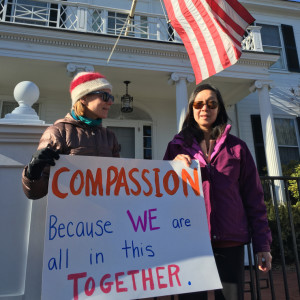 Juliet Shagoury of Hallowell, left, and Sammee Quong, of Augusta, but originally from China, expressed their support for Syrian refugees Wednesday in front of the Blaine House.
