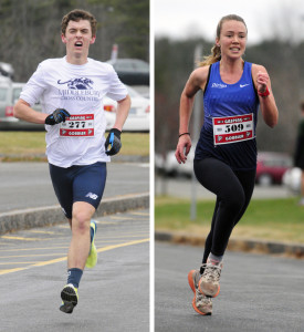 Harrison Knowlton, of Turner, was the first male finisher and Augusta native Anna Ackerman was first female finisher at the Gasping Gobbler 5k race on Thursday at Cony High School in Augusta.