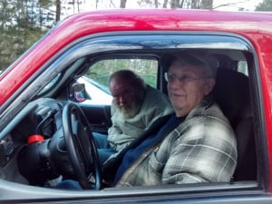 Bill Latham gives a neighbor a ride on Nov. 14, the first trip of the Neighbors Driving Neighbors program which recently began operations in the towns of Belgrade, Fayette, Mount Vernon, Rome and Vienna.