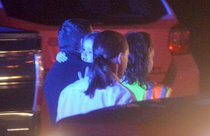 Arianna Bragg is carried to safety Nov. 4 after her parents were shot by Herman DeRico at their home in Oakland. A fundraiser for the 3-year-old is scheduled for Wednesday at Messalonskee High School in Oakland.