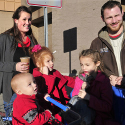 Molly and Stefan Staples and their three children on Sunday stopped outside of the Skowhegan Wal-Mart and shared their views on the weekend bomb scares at company stores.