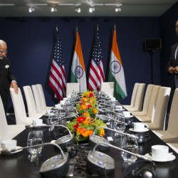 U.S. President Barack Obama, right, meets with Indian Prime Minister Narendra Modi, second left, during the COP21, United Nations Climate Change Conference, in Le Bourget, outside Paris, on Monday.