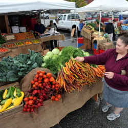 Naomi York, of Oakland, finds some color at the Waterville Farmer's Market in September 2014. The market is moving indoors for the winter to the MaineGeneral Thayer Center for Health on North Street, a new location after there were issues with its winter location last year in The Center downtown.