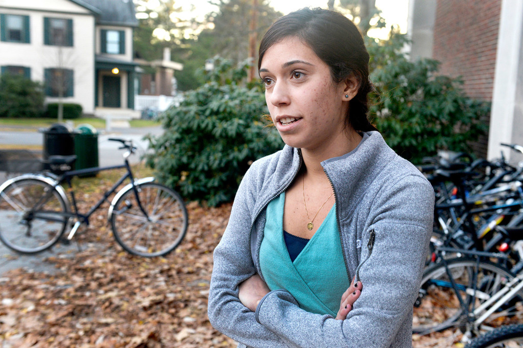 Laura Hernandez, a Bowdoin College junior from Naples, Florida, lives off campus and says she is much more aware now as she walks home.  John Ewing/Staff Photographer