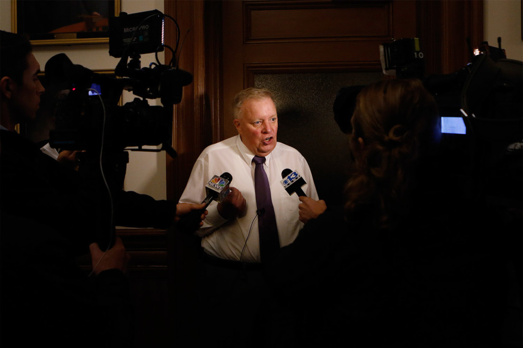 Lewiston Mayor Robert Macdonald speaks with the media Tuesday night after results in the city's mayoral race showed that a runoff election will be needed.