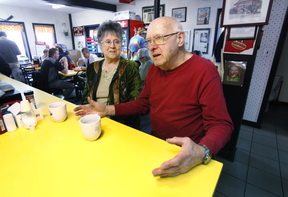 Joan and Bert Caron, both 80, sitting at the counter at Simones' hot dog stand in Lewiston on Wednesday, said they voted for Ben Chin and plan to do so again in next month's runoff.
