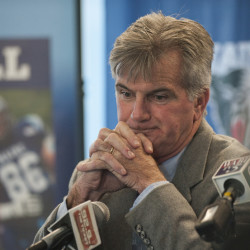 "Veteran football coach Jack Cosgrove, appearing Tuesday afternoon at an afternoon news conference in Orono, says he told his players about ending his University of Maine coaching career earlier in the day. ""It was good to be able to tell them first,"" he said. ""It was good to be able to just simply shake their hands. It was not emotional for me."""