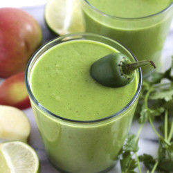 A smoothie from Green Blender made with collard greens, cilantro, an apple, lime juice, a jalapeno and camu camu powder.