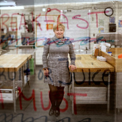 Nutritionist Laura Pineo makes sure the school kitchens of SAD 54, in the Skowhegan area, keep hungry students fed and ready for their lessons. As the superimposed sign declares, fruit and juice are among the items available for breakfast, and lunch can be a variety of hot dishes.