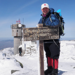 """New Hampshire state Sen. Jeb Bradley reaches the top of Mount Washington in 2012. """"I always say my favorite hike is the next one,"""" he said."""