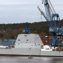 The Navy's stealthy Zumwalt destroyer, which was built at Bath Iron Works, has an unusual hull that fell out of favor a century ago in part because it can be unstable. The Associated Press