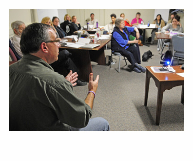 "Darren Ripley, of the Maine Alliance for Addiction Recovery, talks during training for people volunteering as ""angels"" in Augusta last week. Gov Paul LePage should get on board with the new tactic of helping people fight addictions instead of focusing all his energy on law enforcement. (Staff photo by Joe Phelan)"