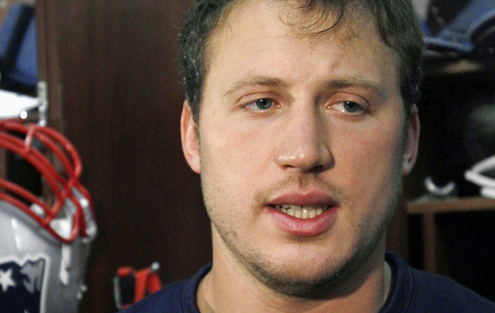 """New England Patriots tackle Nate Solder says he was bathing his son Hudson on  Oct. 19 and  felt a """"strange bulge"""" on the boy's side. The Associated Press"""