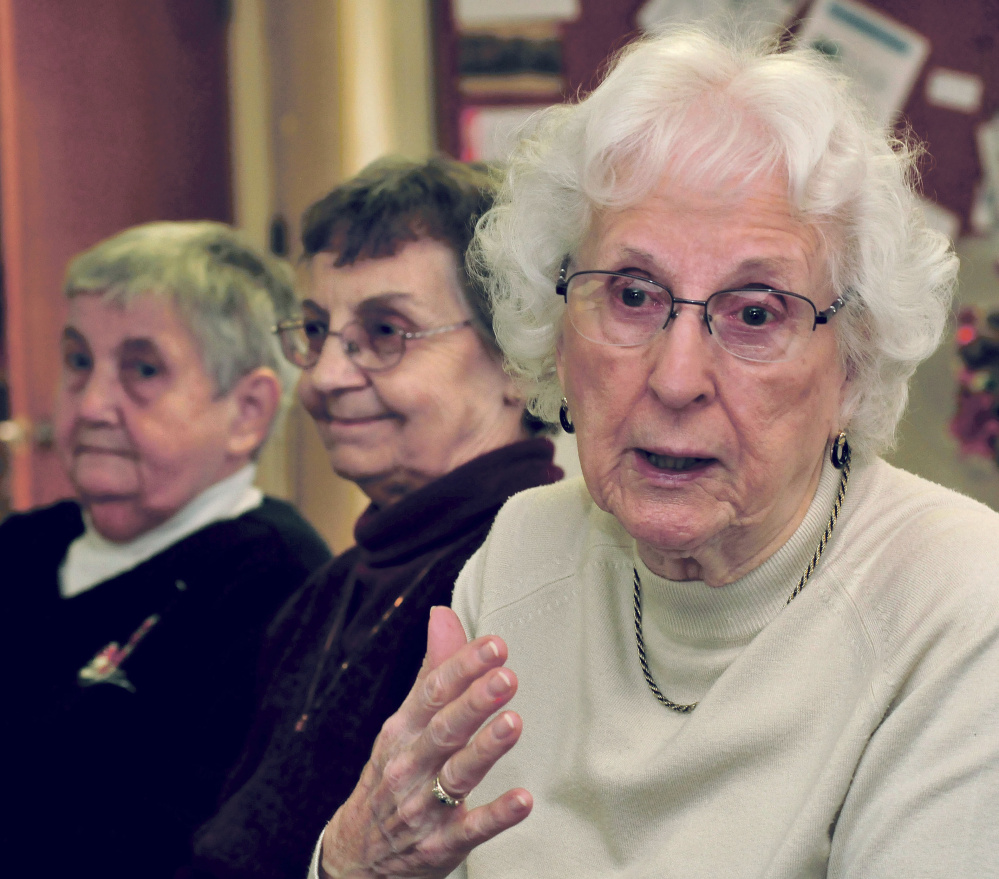 Spring House Gardens residents speak about possible foreclosure of the low-income senior apartment complex in Skowhegan on Tuesday. These three residents all said they like living in the centrally located residence. From left are Carol Dorian, Lorraine Hoskins and speaking is Frances Spaulding.