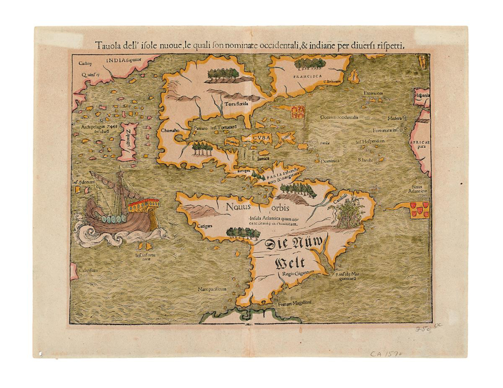 """This photo provided courtesy of Swann Auction Galleries shows a German map produced in the mid-16th century that is among the historic maps and atlases for sale Tuesday at Swann's Auction Galleries in New York City. Experts say the map is considered the earliest to depict all of America and to name the Pacific Ocean, labeled on the map in its Latin name: """"Mare pacificum."""""""