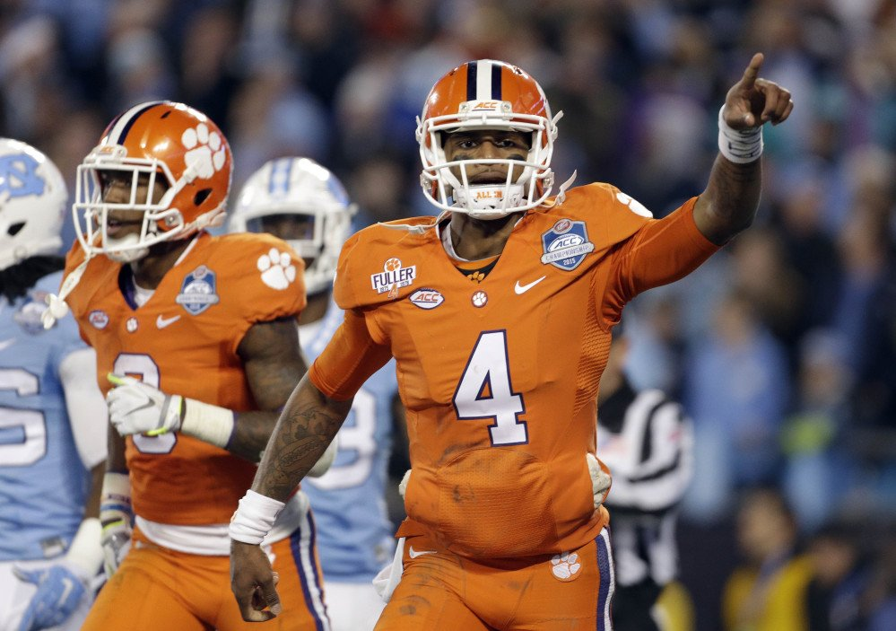 Clemson's Deshaun Watson celebrates his touchdown against North Carolina in Saturday's Atlantic Coast Conference championship game in Charlotte, North Carolina, on Saturday. Clemson finished the top seed and will play Oklahoma in the semifinals of the College Football Playoff on New Year's Eve.