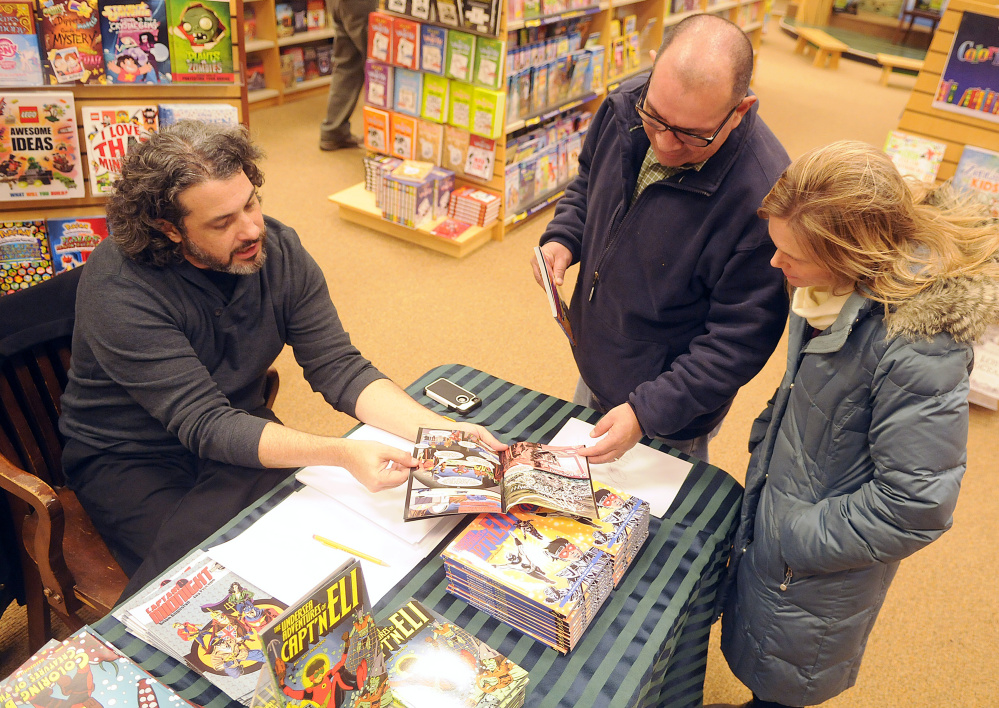 "Maine comic book artist and author Jay Piscopo talks Sunday about one of his books with customers Steve and Tammy Diaz of Fairfield during a book signing in Augusta. Piscopo created a three-volume graphic novel series ""The Undersea Adventures of Capt'n Eli."""