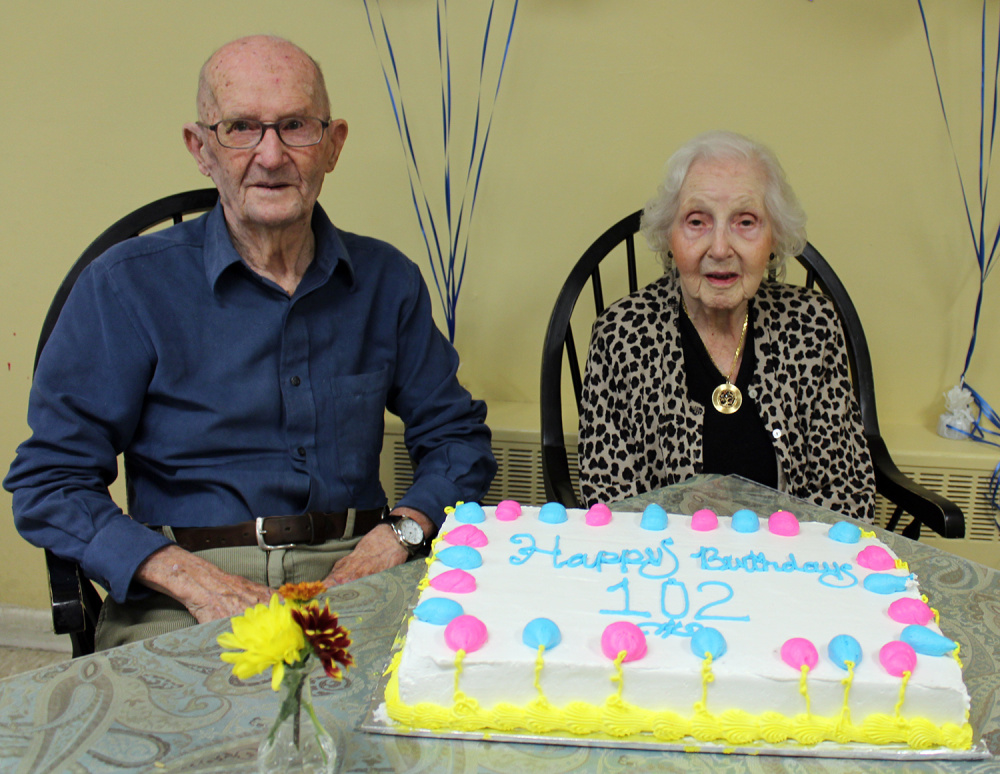 Contributed photo Thomas Follette, left, and Helene Linenthal recently celebrated their 102nd birthdays at Arbor Terrace in Gardiner.