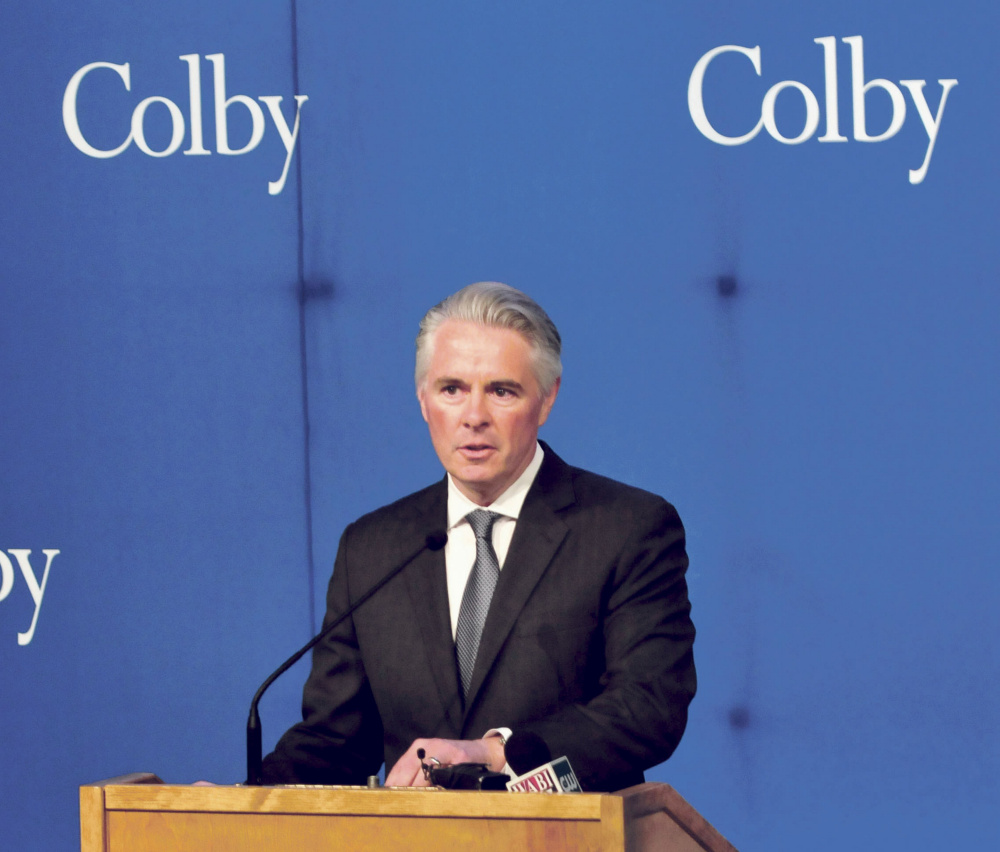 Colby College President David Greene speaks Wednesday during an announcement that Collaborative Consulting company will open a business in Waterville.