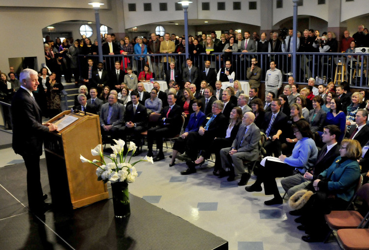 William C. Robichaud Sr., founder, president and CEO of Collaborative Consulting announced that his company will soon open the Collaborative Waterville Delivery Center in the Hathaway Center during an announcement at Colby College in Waterville on Wednesday.