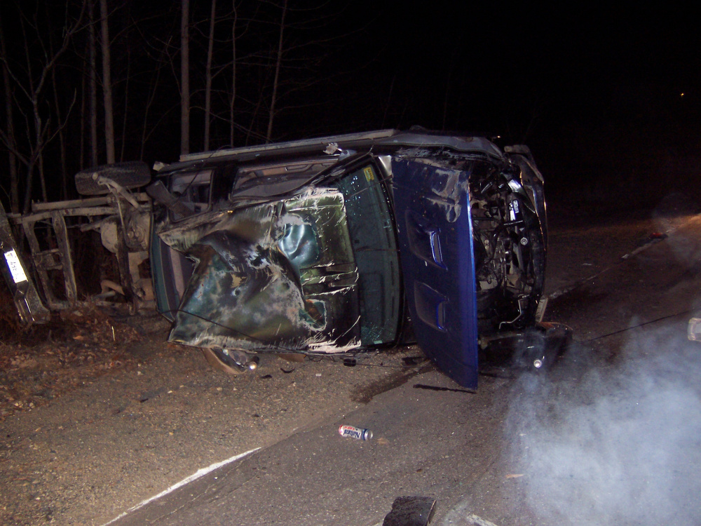 A truck driven by Adam Peaslee, 24, of Dresden, crashed Tuesday night on Middle Road in Dresden, according to the Lincoln County Sheriff's Office.
