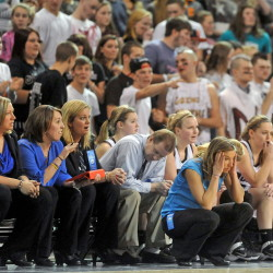 Nokomis coach Michelle Paradis reacts to a missed free throw late in the second half of a 2014 game against MDI. The Warriors picked up a big win against Mt. Blue in the season opener this season.