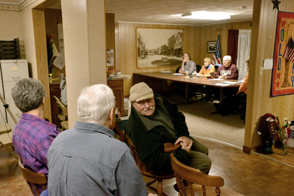 Anson residents gather for a public hearing last week to make changes to the mass gathering ordinance ahead of a proposed bluegrass music festival in town. The ordinance passed with no opposition at a special town meeting Tuesday night.