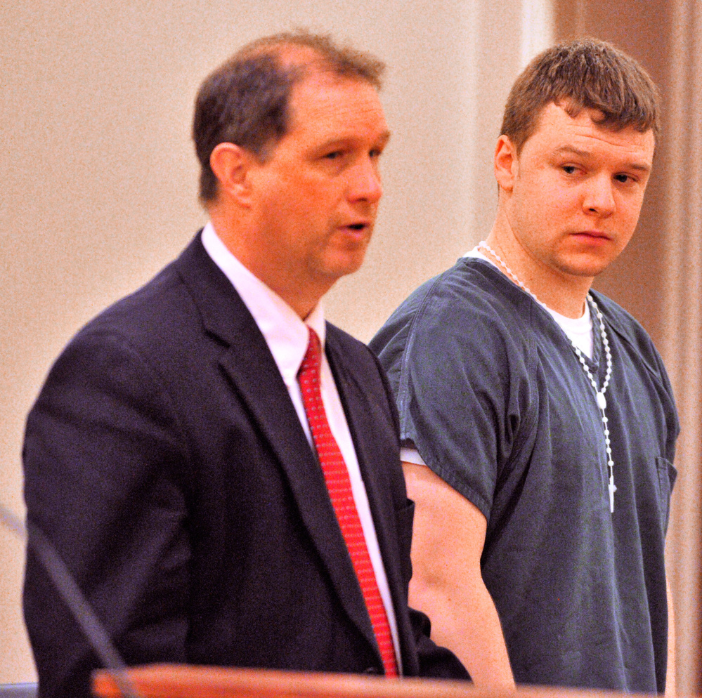 Attorney Brad Grant, left, speaks for his client Thorr Dennis Ellis, 21, of Gardiner, on Thursday in Capital Judicial Center during a sentencing hearing on a charge of manslaughter.