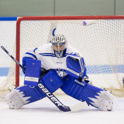 Contributed photo/Colby athletics Colby sophomore goalie Emerson Verrier has a .947 save percentage this season and is a big reason why the Mules have yet to allow a power play goal.