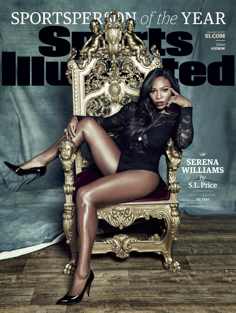 "This photo provided by Sports Illustrated shows the cover of the 2015 ""Sports Person of the Year"" magazine issue, featuring tennis player Serena Williams."