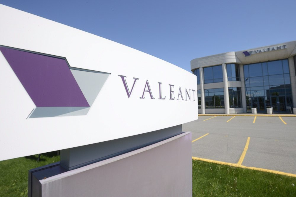 This May 27, 2013, file photo, shows the head office and logo of Valeant Pharmaceuticals in Montreal.
