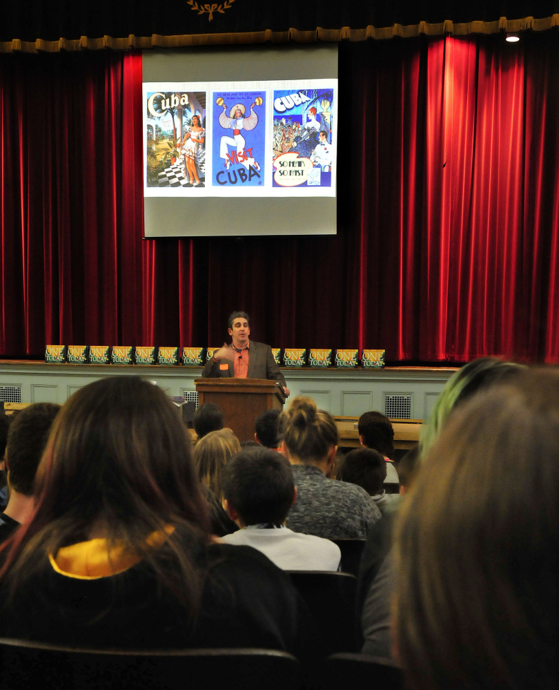 """Bethel poet Richard Blanco, who delivered a poem at the 2013 presidential inauguration, was in the Waterville area Tuesday to promote a children's book adaptation of """"One Today."""""""