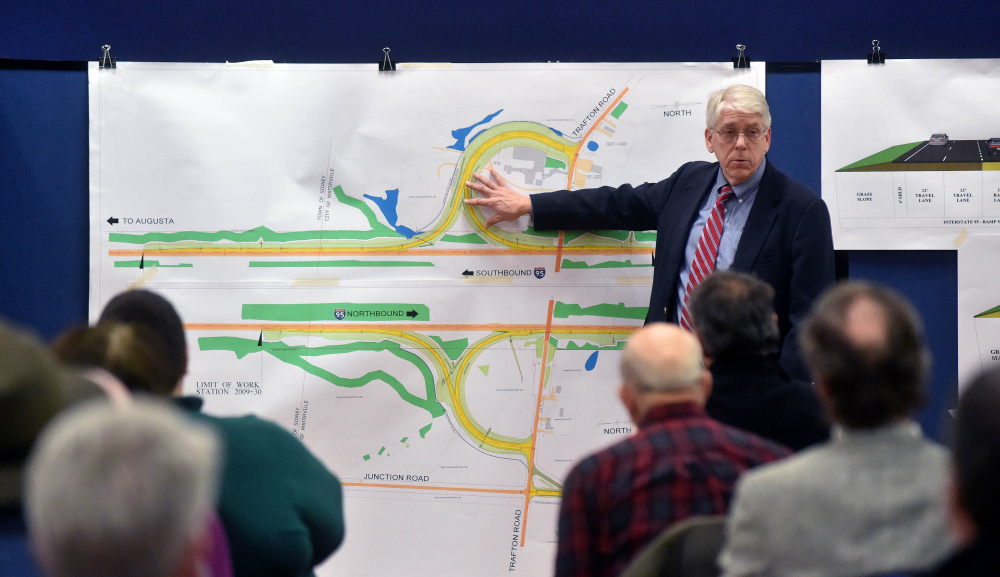 Bill Moore discusses the plans for the proposed construction of a full-service interchange at Interstate 95 and Trafton Road in Waterville during a public meeting Wednesday hosted by the Maine Department of Transportation at the Spann Commons Summit Room at Thomas College in Waterville.