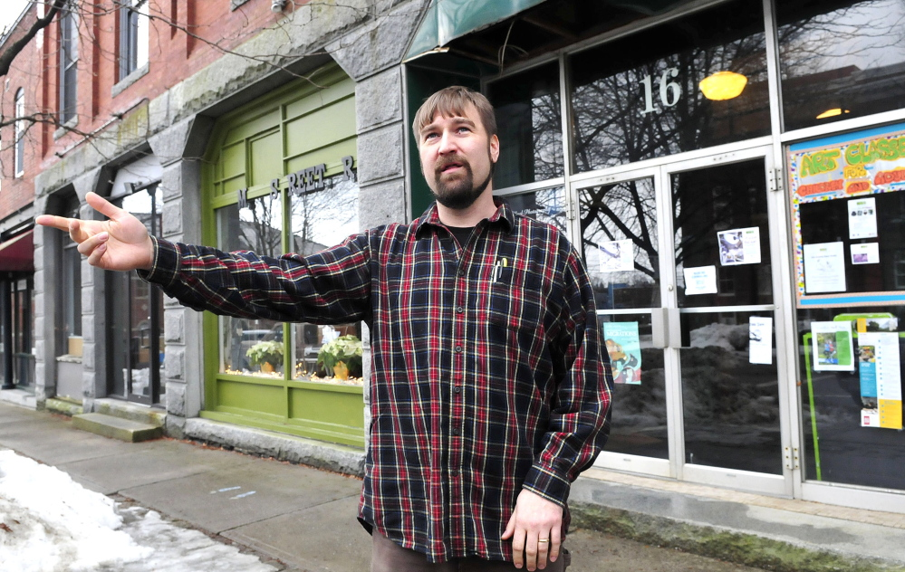 Nate Rudy, director of Waterville Creates!, in front of the Common Street Arts gallery in Waterville last year. Rudy said Monday that funding for the organization from the Harold Alfond Foundation shows a commitment to arts and culture in the city.