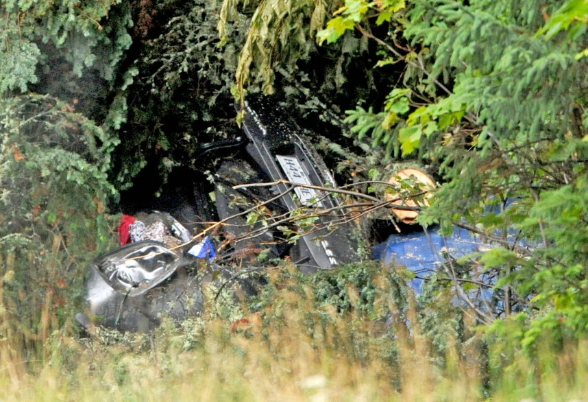 The wreckage of the accident that police believe happened on July 28. Francine Dumas and Martin Poulin, of Quebec, were found dead in the wreckage by thier family Aug. 4. The accident report was released Monday after a Freedom of Information Act request by the Morning Sentinel.
