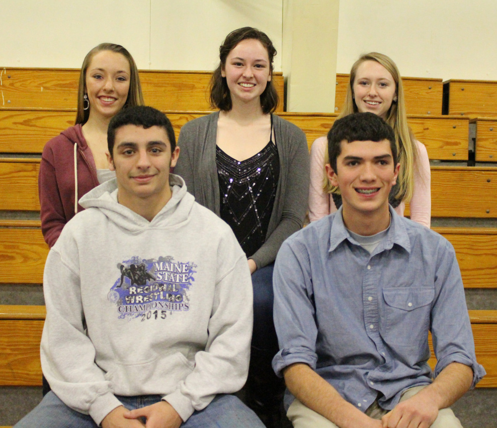 Seniors of the Trimester, IN front, from left, are Justin Studholme and Angelo Sacks. In back, from left, are Mackenzie Gayer, Katharine Holzwarth and Jordan Bowie.