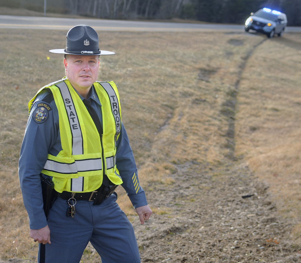 Tire ruts were still apparent last week from a tractor-trailer that struck and critically injured Trooper Greg Stevens on July 30 on Interstate 295 in Richmond.