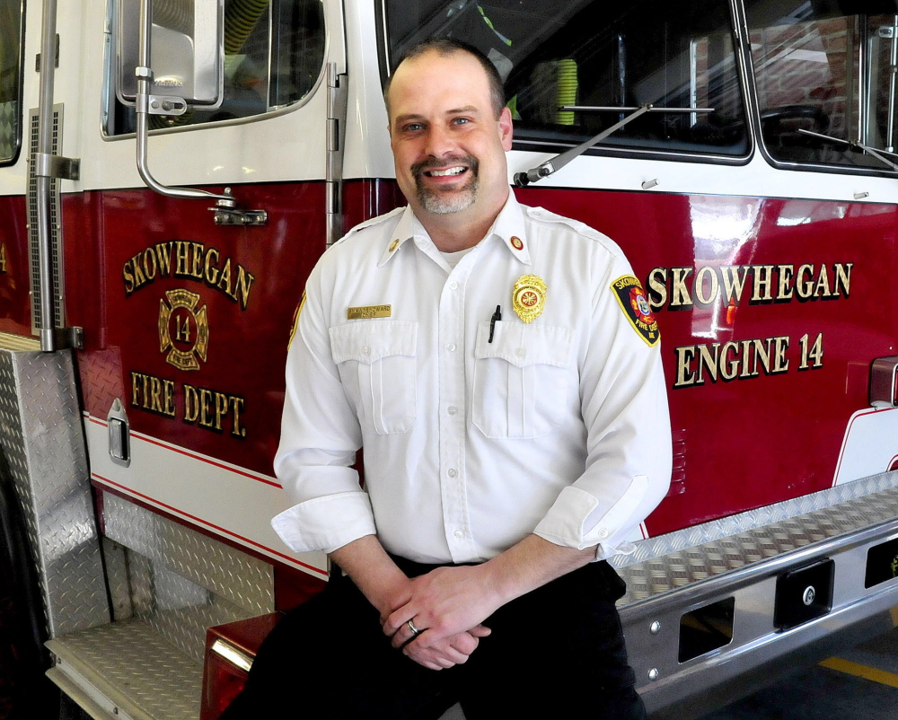 Skowhegan Fire Chief Shawn Howard is seen at the department on Feb. 24. Howard, who has also been serving as chief of the Madison Fire Department, is stepping down from the Madison post to focus on his Skowhegan duties.