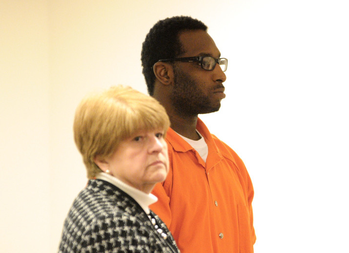 Defense attorney Pamela Ames stands next to David W. Marble Jr., 29, of New York, who has been charged with two counts of murder during a Wednesday hearing at the Capital Judicial Center.