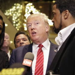 "Presidential candidate Donald Trump says a meeting with a group of black pastors Monday resulted in ""many, many endorsements"" after some pastors raised objections over the weekend."