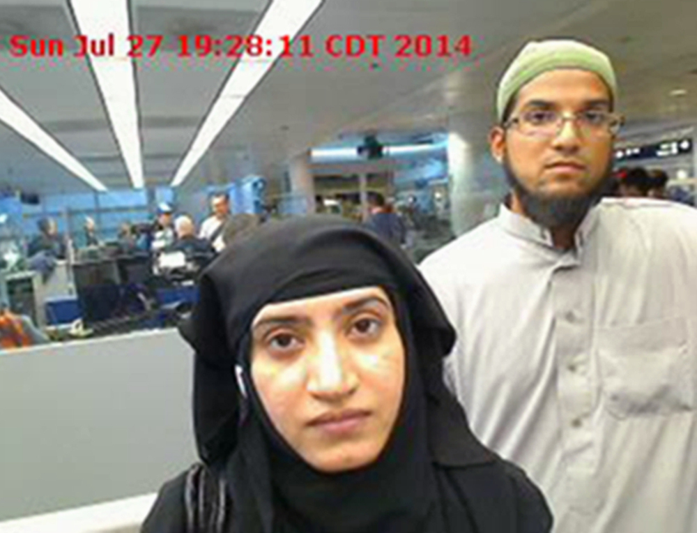 Tashfeen Malik, left, and Syed Farook in a 2014 U.S. Customs and Border Protection photo taken O'Hare International Airport in Chicago. The man who bought rifles for the pair was identified as a relative.
