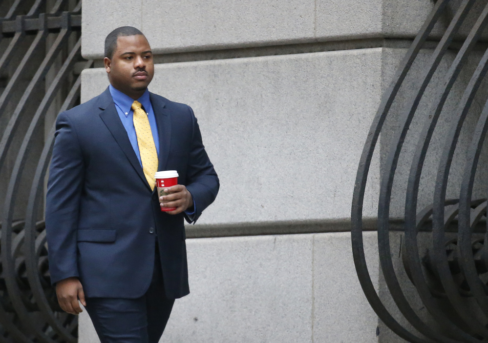 William Porter, one of six Baltimore police officers charged in connection with the death of Freddie Gray, arrives at a courthouse in Baltimore last month.