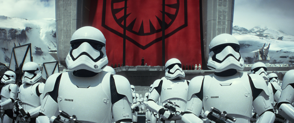 """This photo provided by Disney/Lucasfilm shows stormtroopers in a scene from the new film, """"Star Wars: The Force Awakens."""""""