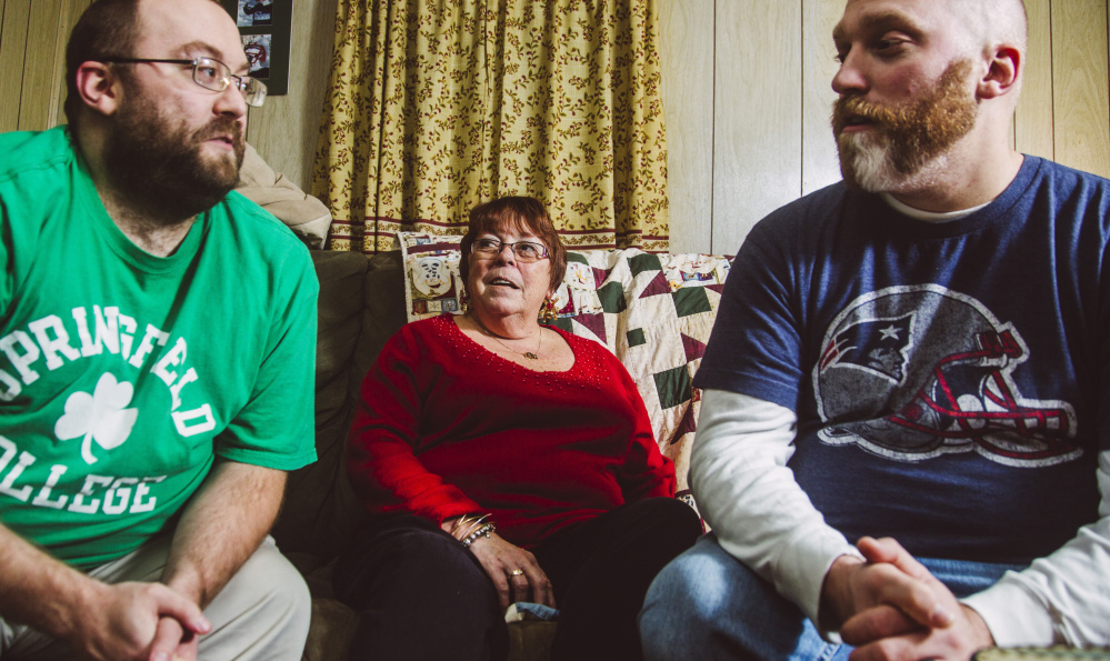 The Taylors, from left, Matt, Karen and Travis, discuss politics at their home in South Portland. The brothers are split on the merits of presidential candidate Donald Trump, while their mom just wants to keep things civil.