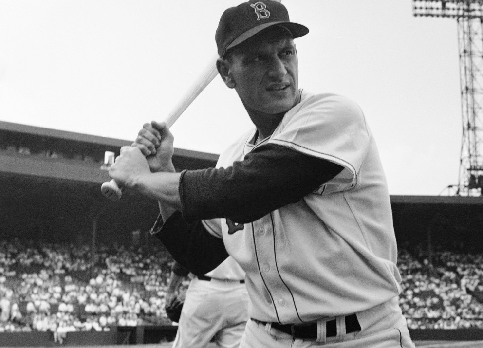 Boston Red Sox Frank Malzone is shown at batting practice before game with Cleveland at Fenway Park in 1957.