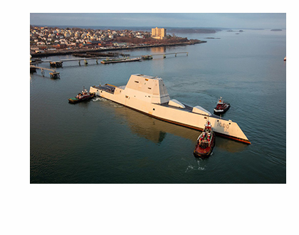 The Zumwalt is turned by tugboats in Portland Harbor. (Photo by Dave Cleaveland Maineimaging.com)