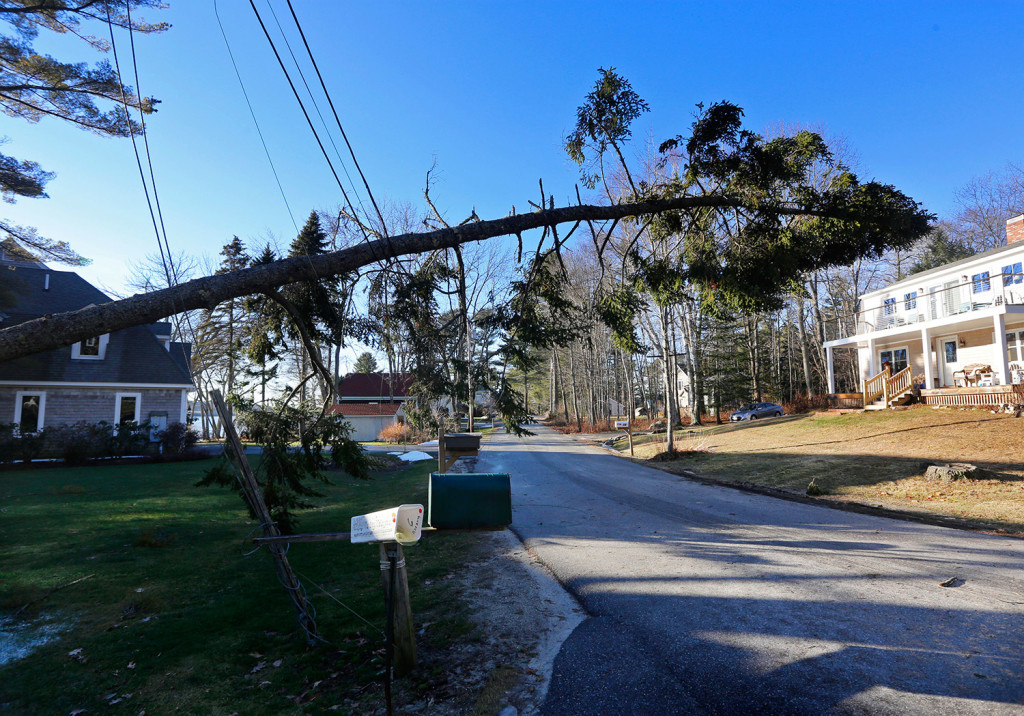 A tree is suspended by power lines over Cushing Briggs Road in Freeport on Monday after a storm that knocked out power for more than 50,000 Maine customers.  Derek Davis/Staff Photographer