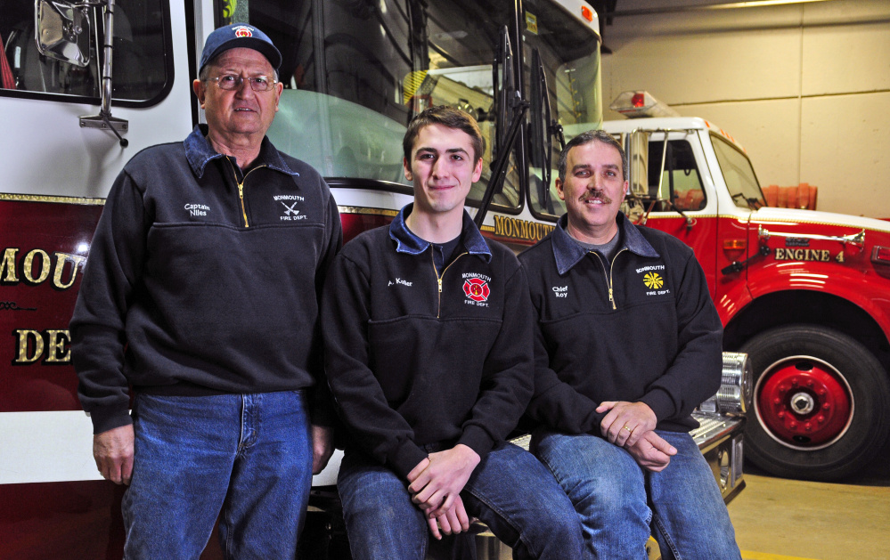 Capt. Dan Niles, left, firefighter Angus Koller and Chief Dan Roy, shown in a photo from last week, are part of a strong and vibrant volunteer fire department in Monmouth.