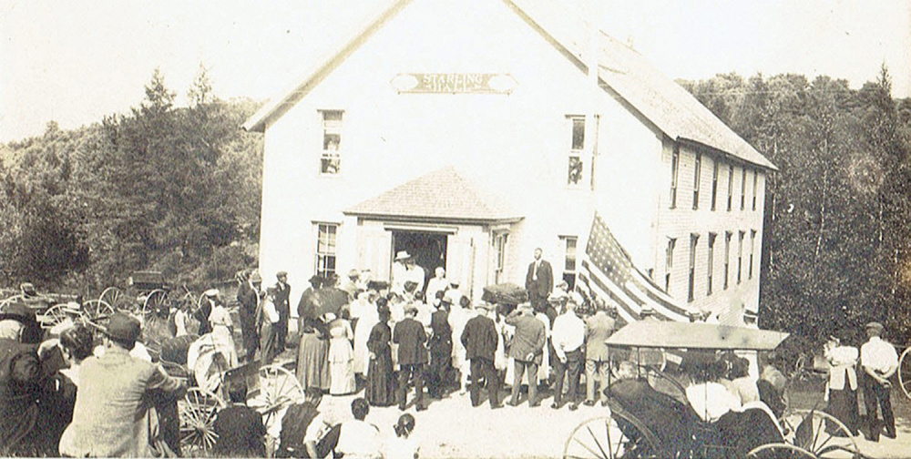 """""""Join the Crowd,"""" a 1920's photo of rededication of Starling Hall."""